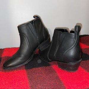Classic Black Faux Leather Booties